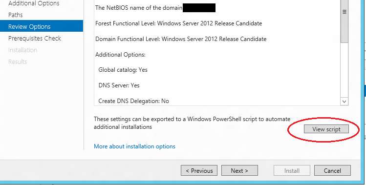 Windows Server 2012 Active Directory Configuration Script Button