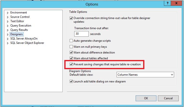 option sql server