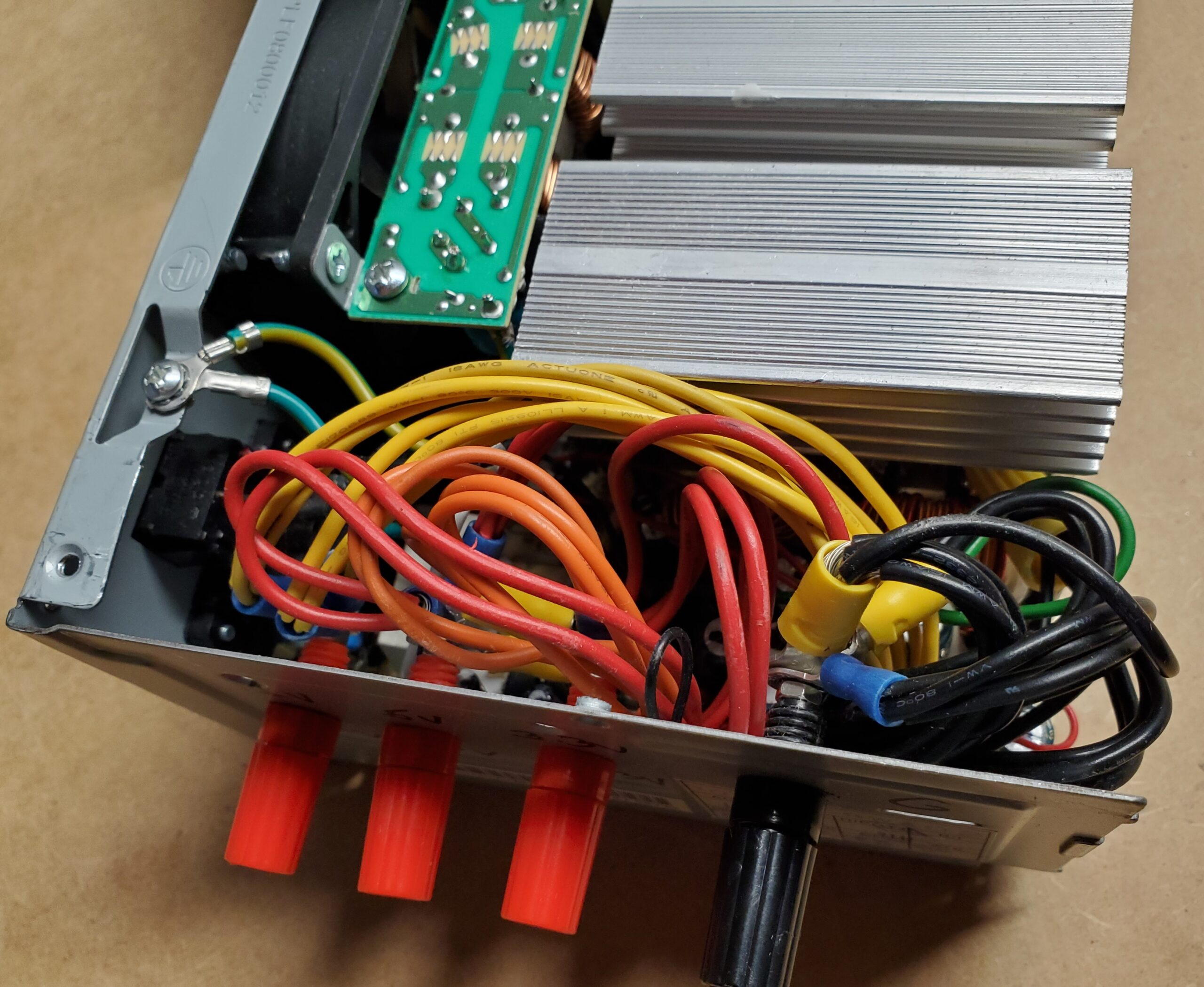 Image of the inside of converted desktop power supply unit